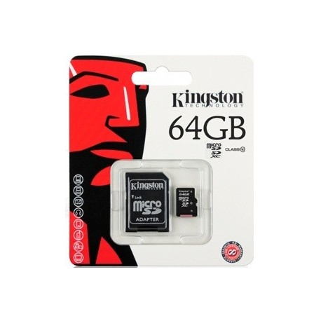 Tarjeta de Memoria Microsd 64gb Kingston Con Adaptador Sd