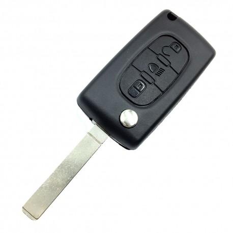 Carcasa Llave Plegable Para Citroen C4 - V2 Sin Guías - Botón Central Vehículo
