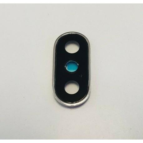 Lente iPhone X Camara Trasera Cristal Negro con Marco Plateado ✅