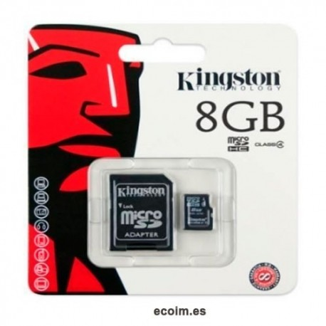 Tarjeta de Memoria Microsd 8gb Kingston Con Adaptador Sd
