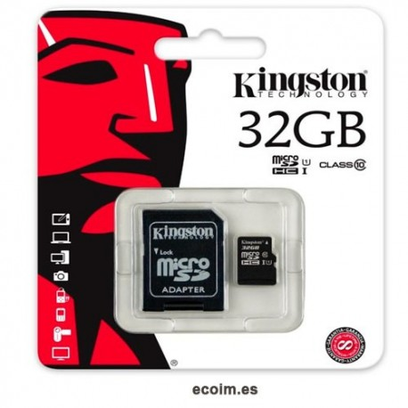 Tarjeta de Memoria Microsd 32gb Kingston Con Adaptador Sd