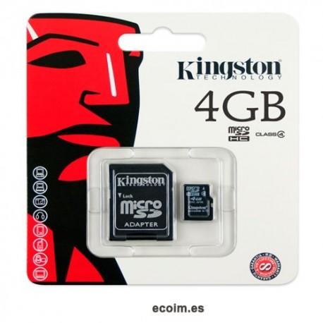 Memoria Microsd 4gb Kingston Con Adaptador Sd