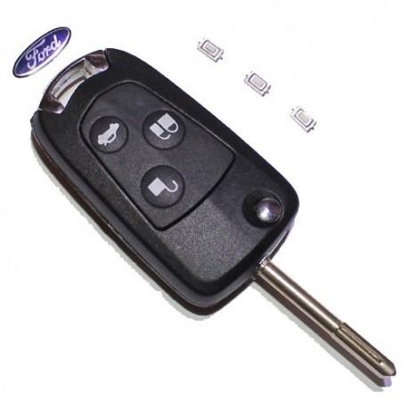 Carcasa Llave Plegable + Pulsadores telemando 3 botones Ford Focus, Ford Mondeo, C-Max