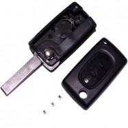 Carcasa Llave Plegable + Pulsadores Para Citroen C4 - V2 Con Guías