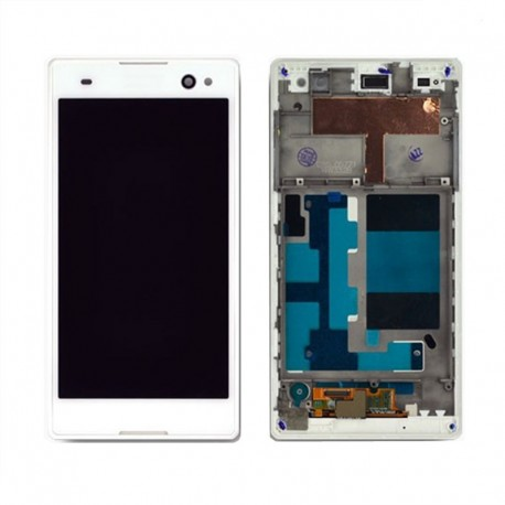 Pantalla Completa LCD + Táctil con marco para Sony Xperia C3 Blanco